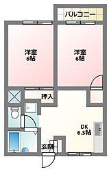大阪府寝屋川市高柳6丁目の賃貸アパートの間取り