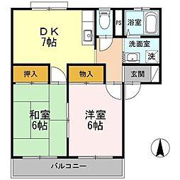 長野県松本市井川城3丁目の賃貸アパートの間取り