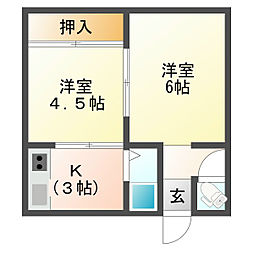 西舞子アパート[1階]の間取り