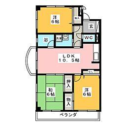リネット多加木[4階]の間取り