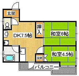 平田第二マンション[203号室]の間取り