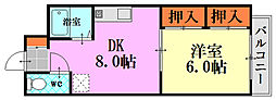 Shuコーポ牛田 3階1DKの間取り