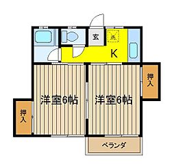 三浦荘[206号室]の間取り