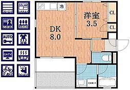 MY HEBEL西田辺[1階]の間取り