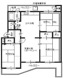 南円明寺ヶ丘団地10棟402号[4階]の間取り