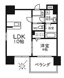 Modern Palazzo天神南リーフ 5階1LDKの間取り