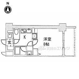 ベラジオ京都西院ウエストシティIII606 6階1Kの間取り