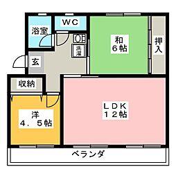 関田農住団地コーポ旭[3階]の間取り