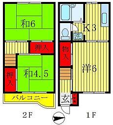 [テラスハウス] 千葉県松戸市串崎南町 の賃貸【/】の間取り