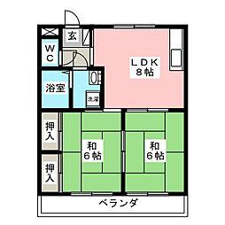 板倉コーポラス A棟[1階]の間取り