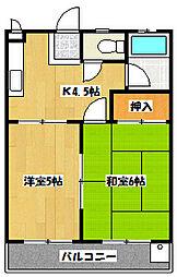 東石井コーポ[3階]の間取り