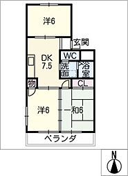 松美マンション[1階]の間取り