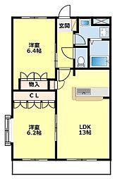 愛知県豊田市緑ケ丘2丁目の賃貸アパートの間取り