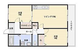 大阪府大阪市平野区瓜破東2丁目の賃貸マンションの間取り