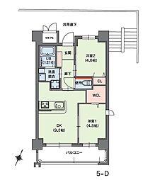 クラシオン小笹山手5番館 3階2DKの間取り
