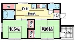 兵庫県神戸市兵庫区中道通2丁目の賃貸マンションの間取り