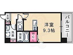 阪神本線 大物駅 徒歩7分の賃貸マンション 2階ワンルームの間取り