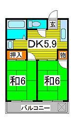 福田第一マンション[303号室]の間取り