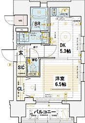 エステムコート大阪新町 2階1DKの間取り