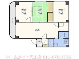 北海道札幌市中央区宮の森四条5丁目の賃貸マンションの間取り