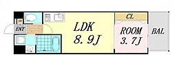 V-ランコントル吹田 1階1LDKの間取り