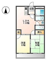 牧野マンションII[4階]の間取り