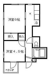 神奈川県横浜市保土ケ谷区仏向町の賃貸マンションの間取り