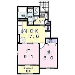 鹿児島県枕崎市木原町の賃貸アパートの間取り