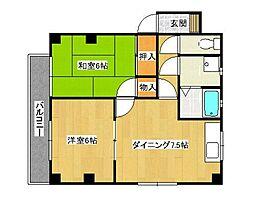 広島県呉市西中央3丁目の賃貸マンションの間取り