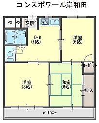 コンスポワール岸和田[2階]の間取り