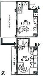 JR山手線 目黒駅 徒歩4分の賃貸マンション 5階1LDKの間取り