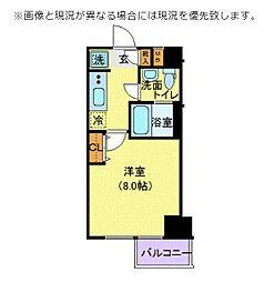 クレヴィスタ文京江戸川橋 2階1Kの間取り