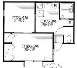 東京都新宿区矢来町の賃貸アパートの間取り