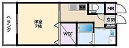 阪神本線 武庫川駅 徒歩6分の賃貸アパート 1階1Kの間取り
