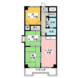 ベルシャイン竹原B[7階]の間取り