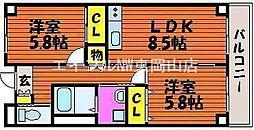 岡山県岡山市中区高屋の賃貸マンションの間取り