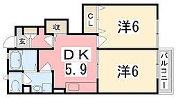兵庫県加古川市尾上町長田の賃貸アパートの間取り
