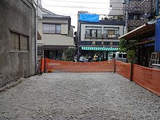 敷地内から前面道路を望む。平坦な整形地でプランも組みやすいです。