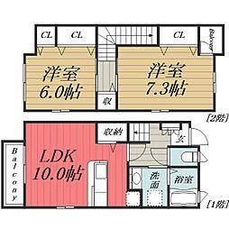[テラスハウス] 千葉県千葉市緑区誉田町2丁目 の賃貸【/】の間取り