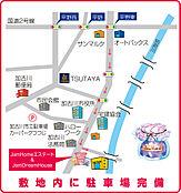 加古川市役所の南東側の立地。加古川法務局のななめ向いにJamhomeエステートがございます。大型駐車場完備。加古川市、高砂市、播磨町、稲美町でお家をお探しの方はぜひご来店ください。