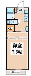 大阪府東大阪市御厨栄町2丁目の賃貸アパートの間取り