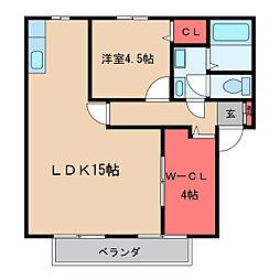 コーポ鶴町[204号室]の間取り