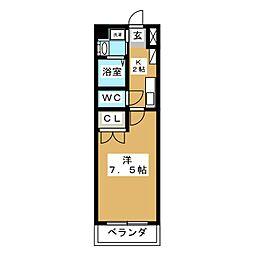 愛知県名古屋市名東区富が丘の賃貸マンションの間取り