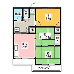 木瀬川リバ−サイドマンション[1階]の間取り