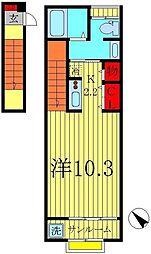 千葉県柏市みどり台1丁目の賃貸アパートの間取り