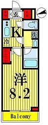 東武伊勢崎線 鐘ヶ淵駅 徒歩6分の賃貸マンション 5階1Kの間取り