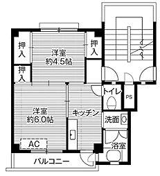 ビレッジハウス額原3号棟5階Fの間取り画像