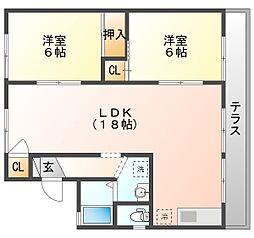 岡山県岡山市北区今3丁目の賃貸アパートの間取り