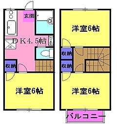 [テラスハウス] 神奈川県厚木市及川 の賃貸【神奈川県 / 厚木市】の間取り