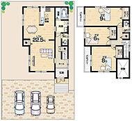 広々駐車スペース・全室6帖以上